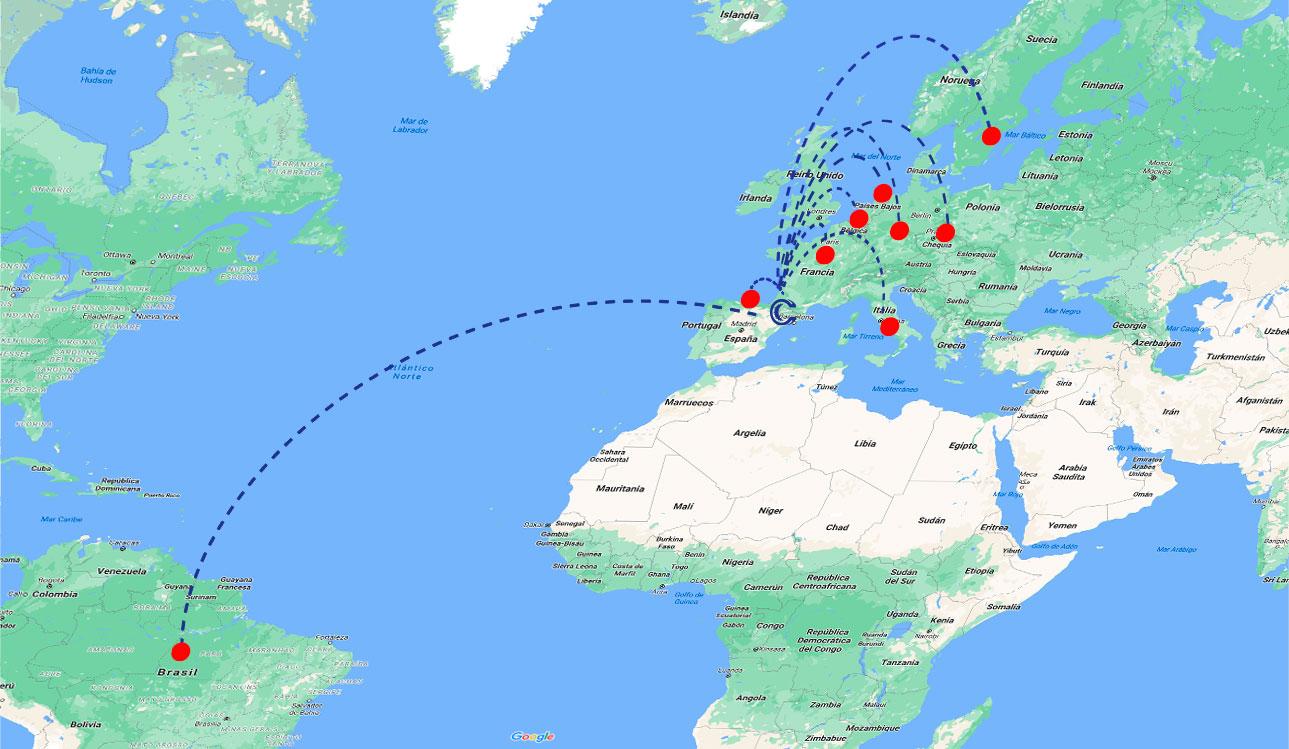 mapa con los puntos de exportación de casadesús marcados